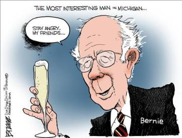 bernie sanders with champagne cartoon